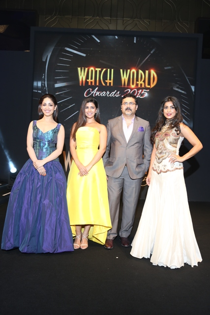 Actress Yami Gautam, Nimrat Kaur, Mitrajit Bhattacharya, President & Publisher, Chitralekha Group & Creator of Watch World Awards & Pallva Sharda