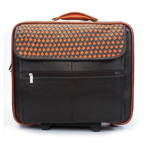 BRUNE-WOVEN-FLAP-CABIN-FRIENDLY-STROLLEY-BAG-IN-BROWN-LEATHER-1